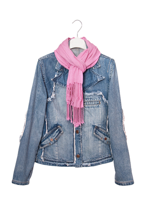 isolated denim jacket, jeans wear, pink scarf and blue jacket is on white, kurtka Stock Photo
