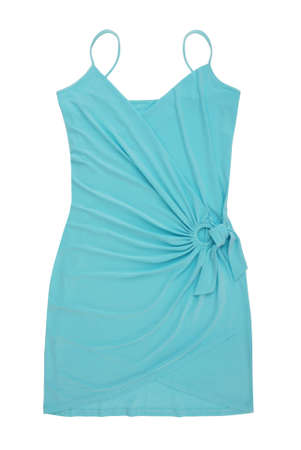 summer dress is on white background, light blue evening frock, asymmetrical female gown is as single object, cocktail outfit for woman