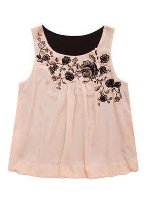 beige blouse with black embroidery is on white background, isolated silk top, crepe de Chine female clothes, chiffon elegant blouse as single object, cream colored female evening clothes