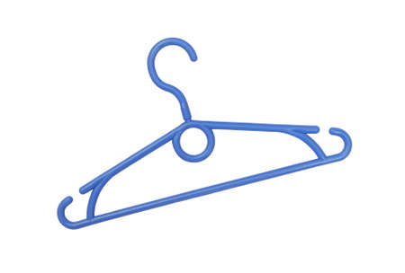 Blue plastic coat-hanger is on white Stock fotó - 154708123