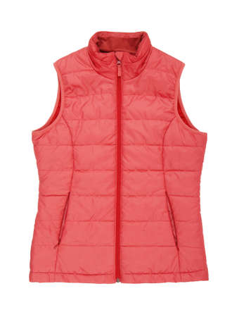 warm red waistcoat is on white background, isolated pink unisex sleeveless jacket, rose vest as single object, rosy sports clothing, beautiful outerwear, spring pink down jacket, nobody 免版税图像