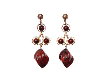 evening drop earrings, maroon earrings on white background, isolated bohemian costume jewelery, vinous bijouterie as single object, dark red ethnic accessory, veined semi-precious stone, mahogany obsidian, nobody, glamorous fashionable accessories, 免版税图像