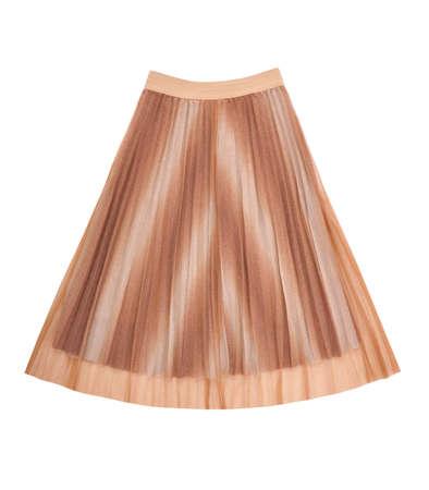 isolated pleated skirt on white, caramel color of bell skirt, light brown fashionable female outfit, beige drape garment, elegant classic style clothing, terracotta flared skirt 免版税图像