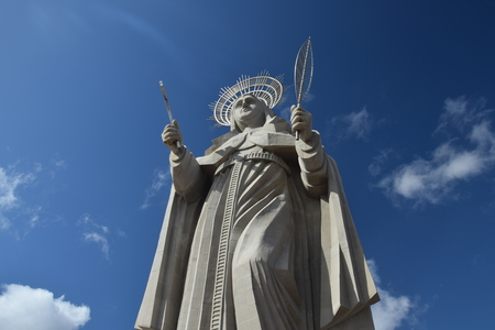 SANTA CRUZ, BRAZIL - September 25, 2017 - View of the courtyard of the largest Catholic statue in the world, the statue of Saint Rita of Cassia, 56 meters high, located in the northeastern backlands. Editorial