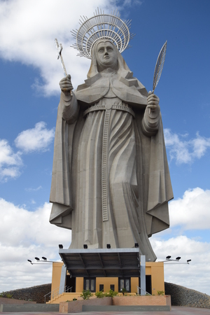 SANTA CRUZ, BRAZIL - September 25, 2017 - View of the courtyard of the largest Catholic statue in the world, the statue of Saint Rita of Cassia, 56 meters high, located in the northeastern backlands.