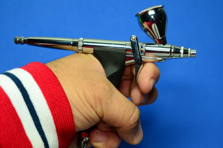 Airbrush approximate view to technical detail. Stock Photo