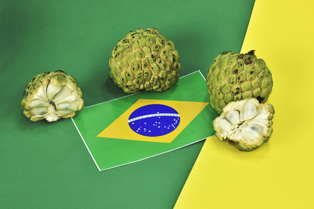 Exotic Brazilian fruit as known as Fruit of the Earl or Fruta Pinha. Scientific name: Annona squamosa.
