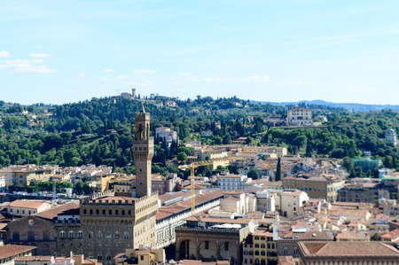 campanille: Panorama of city rooftops and Palazzo Vecchio from Campanille in Florence, Italy