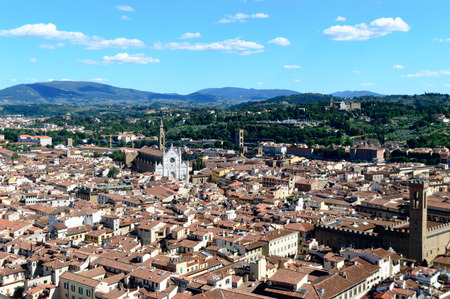 campanille: Panorama of city rooftops from Campanille in Florence, Italy