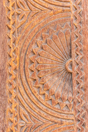 Details of A Fine Wood Carving Art - An Islamic Art and Craft, Oman Stock Photo