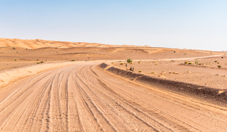 Road in the Desert, Wahabi Sands, Oman Stock Photo