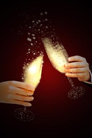 anno: Coppia di champagne flauti un brindisi