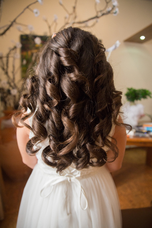 Child bridesmaid make up session and hairstyle