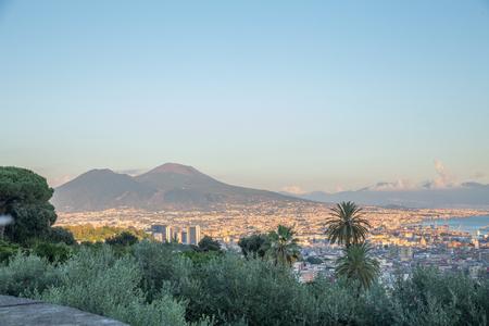 City of Naples, with mount Vesuvius on the background Standard-Bild