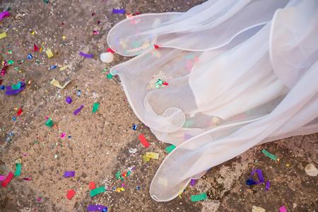 Bride's veil with confetti decorations