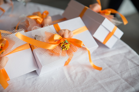 Wedding presents (bomboniere) on a table