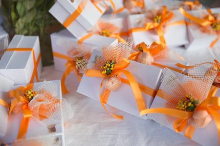 Wedding presents (bomboniere) on a table