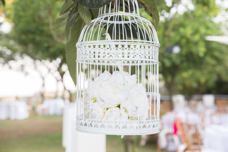 Details of a wedding restaurant with garden Standard-Bild
