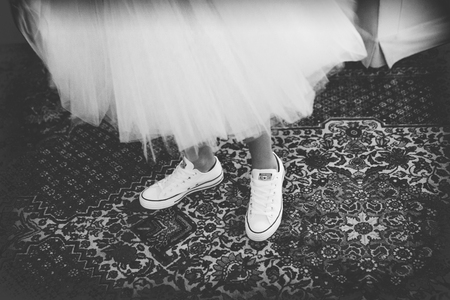 Bridesmaid with sneakers