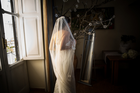 Bride looking at the mirror Standard-Bild