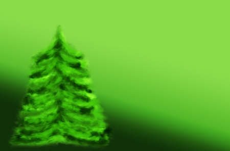 Green cartoon Christmas tree on green background Stock Photo