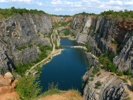 The Big America Abandoned dolomite quarry is beautiful place in The Central Bohemia Czech Republic