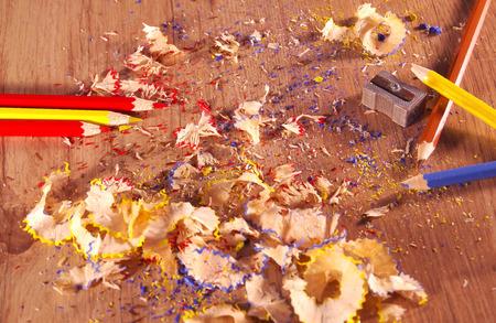 sharpenings: Pencil sharpener on wooden floor.