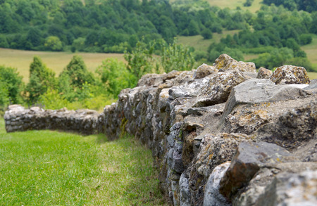 Stone fence near the old church ruins