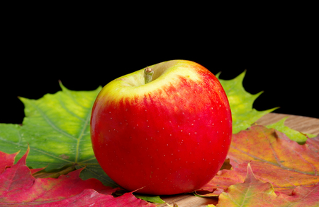 Red apple with fall leaves on a black background
