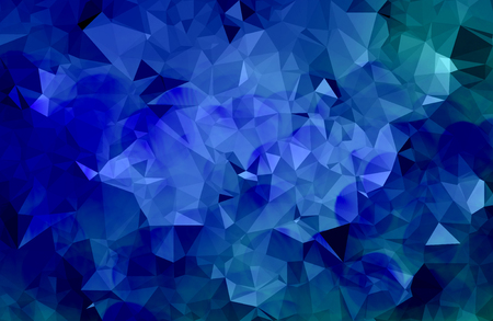 Blue abstract geometric background with triangular and bokeh