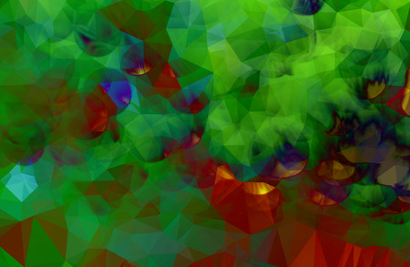 Colorful green abstract geometric background with triangular and bokeh