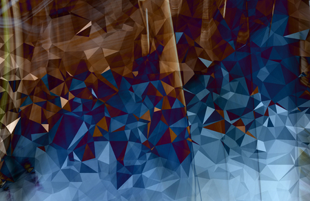 Colorful brown and blue abstract geometric background with triangular Stock Photo