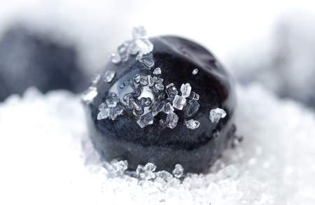Detail of blueberries sprinkled with crystalline sugar Stock Photo