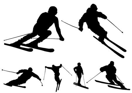 skiers: Skiers - vector