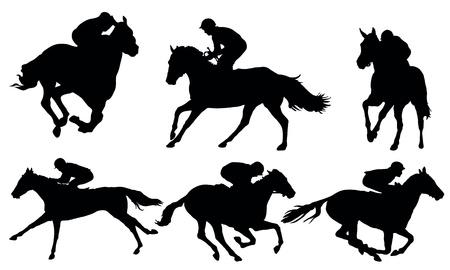 caballo corriendo: Carreras de caballos Vectores