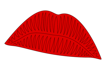 Red lips in white and transparent background for illustration of face. Illustration of female lips.