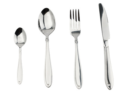 Cutlery set with Fork, Knife and Spoon isolated on white background photo