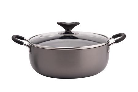 nonstick: Non-stick gray sauce pan on white background