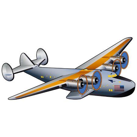 Vintage Clipper Flying Boat Commercial Airliner Ilustracja