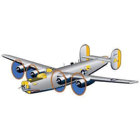 World War II American Bomber Illustration