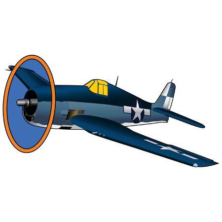 World War II U.S. Navy Fighter Airplane Illustration