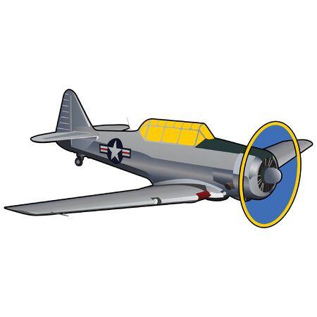World War II Era Training Airplane Illustration