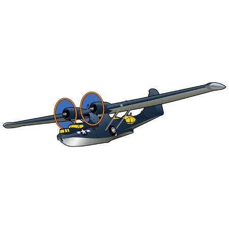 World War II Seaplane Illustration