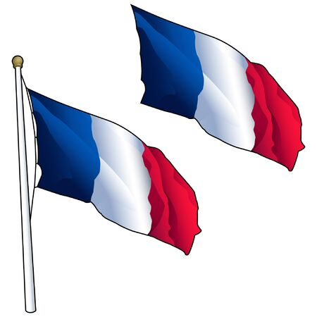 Waving French Flag on Flagpole