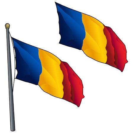 Waving Romanian Flag on Flagpole