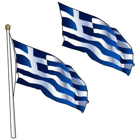 Waving Greek Flag on Flagpole