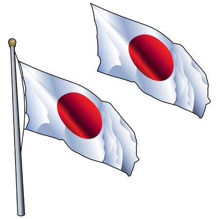 Waving Japan Flag on Flagpole Illustration