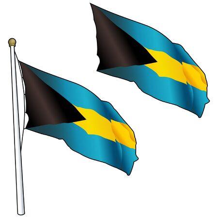 Waving Bahamas Flag on Flagpole