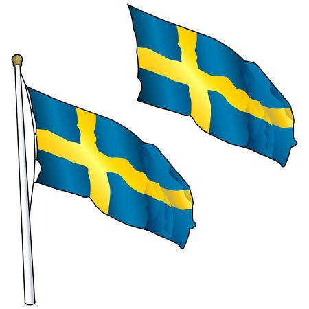 Waving Sweden Flag on Flagpole Ilustração
