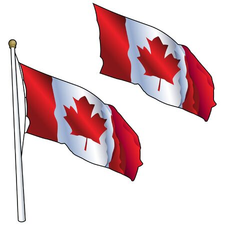 Waving Canadian Flag on Flagpole